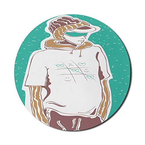 Alfombrilla redonda para ratón, alfombrilla de ratón Tic Tac Toe para ordenadores, boceto de moda callejera con un chico genial con diseño de camiseta, alfombrilla redonda de goma antideslizante con b