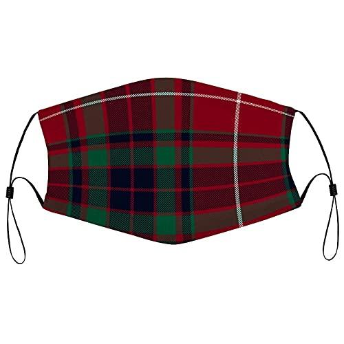 Cara de tela Ma_sks, reutilizable transpirable cara co-ver con 2 filtros pasamontañas ajustable protector bucal para hombres y mujeres, Fraser Gathering Red Tartan