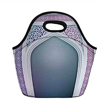 Insulated Neoprene Lunch Bag, Moroccan, Old Fashion Ottoman Arch Door Surrounded by Digital Featured Sacred Geometry Motif, Mauve Grey, Picnic Food Handbag Lunch Box for Men Women Children