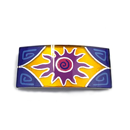 rougecaramel - Barrette cheveux rectangulaire 10cmx4,5cm motif soleil multicolore