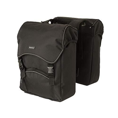 FastRider Unibag Traffic Doppelte Fahrradtasche für Gepäckträger, 28L Seitentasche Fahrrad, Wasserabweisend, Reflektierend, 100% Recyceltes Polyester - Schwarz