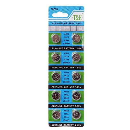 ruiruiNIE 10 Stück AG13 A76 LR44 357A S76E G13 Knopfzellenbatterie 1,55 V Alkaline Knopfzellen AG13 Batterien Silber