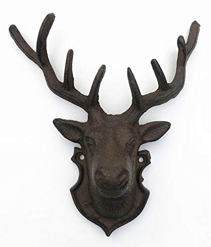 Spring life CAST IRON RUSTIC WALL MOUNTED METAL REINDEER DEER STAG HEAD WITH ANTLERS in 2 colours (Brown)