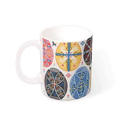 OwlOwlfan Huevo de Pascua de color taza de cerámica divertida taza de café taza de la marca con la manija para la barra del café para la familia amigos blanco 330ml