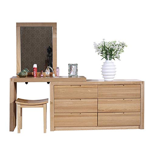 Best Deals! ChenyanAwesom Dressing Tables Dressing Table with Square Mirror 6 Large Drawers with Sli...