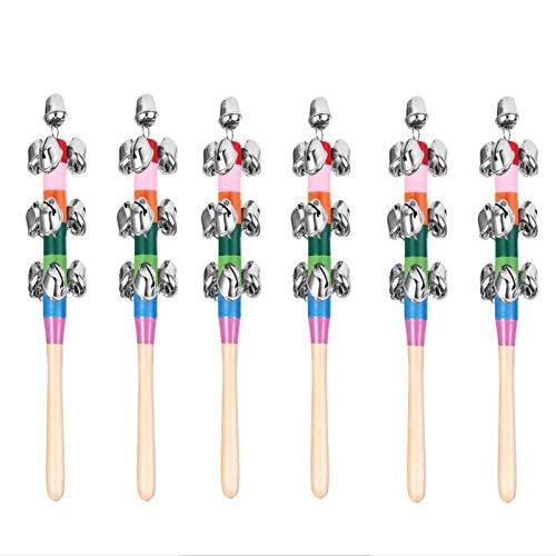 TOYANDONA 6 Pcs Christmas Hand Sleigh Bells Hand Jingle Bells Rainbow Wooden Handbell Wooden School Ringbell Jingle Stick Shaker Rattle Musical Instrument Toy Holiday Christmas Decor Random Color