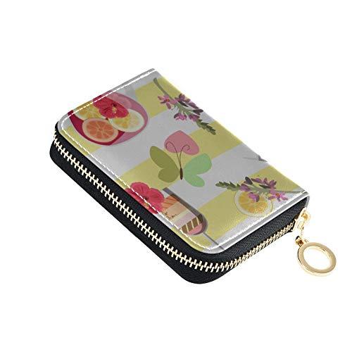 ZipperCreditCardCase Sommergetränke Krüge Sangria SmallCardHolder Pu Leder Reißverschluss Kompakte Größe MultiCardHolder Für Frauen Damen Mädchen Minimalist Akkordeon Geldbörse
