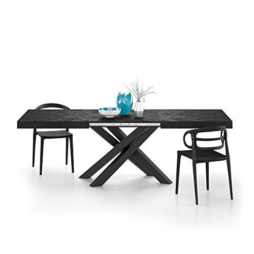 Mobili Fiver, Mesa Extensible Emma, Cemento Negro con Patas Cruzadas Negras, Aglomerado y Melamina/Hierro, Made in Italy