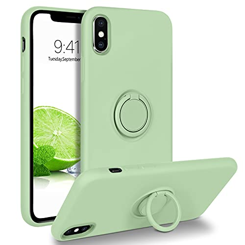 BENTOBEN iPhone X Case, iPhone Xs Case, Slim Silicone 360° Ring Holder Kickstand Support Car Mount Microfiber Liner Shockproof Non-Slip Case for iPhone X/XS, Matcha Green