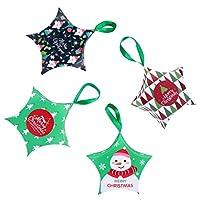 NUOBESTY 12ピースクリスマストリートバッグギフトボックススターシェイプスナッククッキーキャンディーボックスサンタクロースクリスマスギフトバッグラップ用ケーキグッズ誕生日好意(緑)