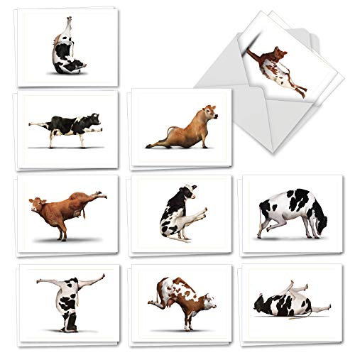 The Best Card Company - 20 Blank Yoga Animal Cards (4 x 5.12 Inch) - All Occasion Kids Set (10 Designs, 2 Each) - Bovine Nirvana AM6545OCB-B2x10