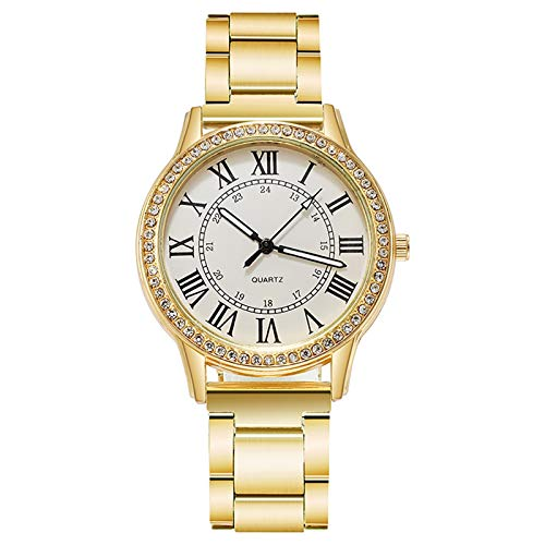 JZDH Relojes para Mujer Reloj de Regalo de Cuarzo Retro Luminoso Luminoso Luminoso de Damas de Diamante. Relojes Decorativos Casuales para Niñas Damas (Color : D)