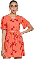 Amazon Brand - Nora Nico Women's V Neck Cotton Floral Print Dress (Orange)