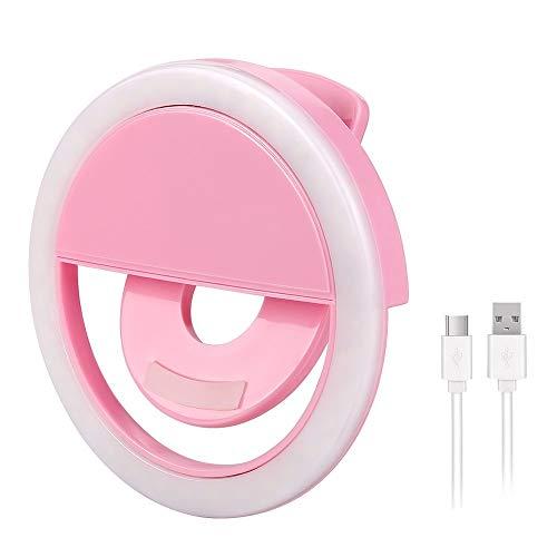 Selfie-Ring Light – 36 LED-Tagfahrlicht-Ring für Smartphones, tragbar – Fotografie, Video Lighting – Clip-on wiederaufladbar