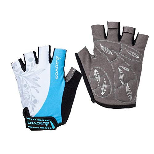 ROVOS Cycling Gloves Half Finger Women Padded Breathable Cycling Gloves Outdoor(Columbia Blue,Medium)