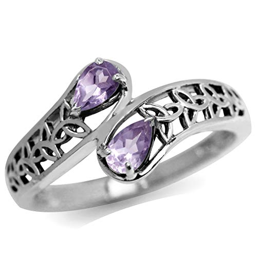 Silvershake Natural Amethyst 925 Sterling Silver Filigree Triquetra Celtic Knot Bypass Ring Size 5