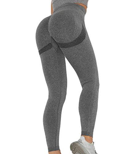 SLIMBELLE Damen Sport Leggings Po Push Up Yogahosen Hohe Taille Scrunch Booty Leggins Sexy Butt Lift Sporthose Fitnesshose Nahtlos Kompression Laufhose Lange Blickdicht Jogginghose für Gym Workout