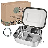 Edelstahl Brotdose & Lunchbox, auslaufsichere umweltfreundliche Eco Bento Box, plastikfrei mit flexiblen Fächern, Verschlussclips, einfach zu reinigen - 1400ml