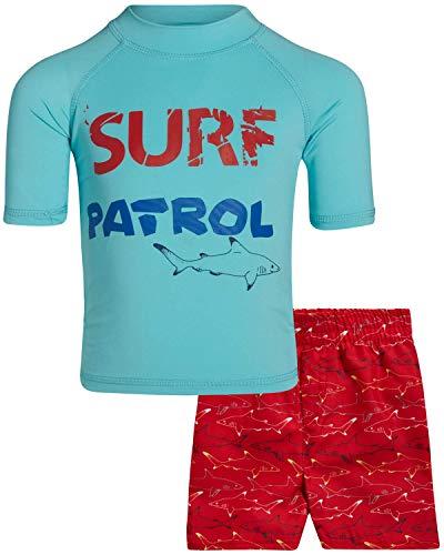 Sweet & Soft Boys UPF 50+ Boys Short Sleeve 2 Piece Rash Guard & Trunk Swimsuit Set (Infant/Toddler/Big Kid), Size 2T, Blue Surf Patrol