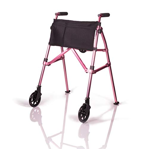 Stander EZ Fold-N-Go Walker, Lightweight Folding Mobility Rolling Walker for Seniors and Adults, 6-inch Wheels, Ski Glides, and Organizer Pouch, Regal Rose