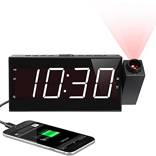 """Projection Digital Alarm Clock for Ceiling,Wall,Bedroom - FM Radio,7"""" Large Number & 5 Dimmers,350°Projector,USB Charger,Sleep Timer,Plug in & Battery Backup,Loud Dual Alarm Clock for Heavy Sleepers"""