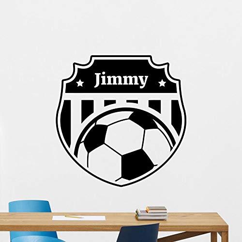 Aangepaste naam voetbal muur sticker Logo gepersonaliseerde Vinyl venster Sticker voetbal Art muurschildering tieners jongens slaapkamer Sport Home Decor