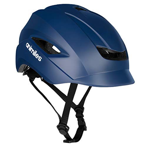 animiles Bike Helmets for Adults with Light, Cool Cycling Helmet CPSC and CE Certified Adult Bicycle Helmet for Urban Commuter Adjustable Size for Adult Men/Women (Dark Blue)