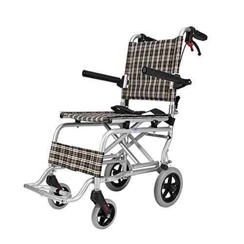 D-Q Ultra Ligera Silla de Ruedas Silla de Ruedas Plegable con los Frenos Sistema de Bloqueo y 7 kg Sólo for Mayores usuarios discapacitados de Movilidad (Color : Orange, Size : S)
