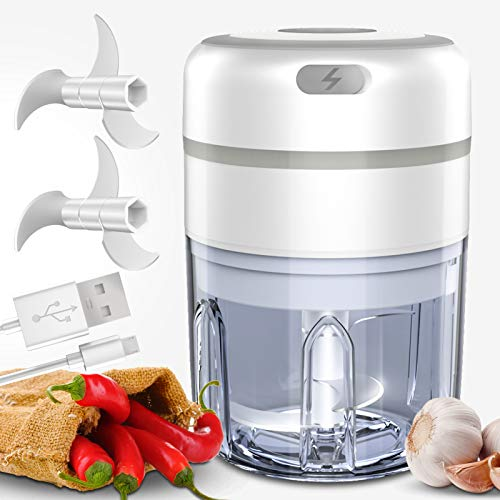 Electric Mini Food Chopper, Qicool Wireless Rechargeable Food Processor/Blender For Baby Food,Garlic,Onion,Veggie,Fruit,Salad, 250ML with 2pcs Blade