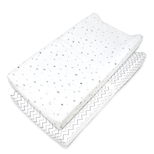 American Baby Company Knit Fitted Contoured Changing Table Pad Cover, Stars and Zigzag