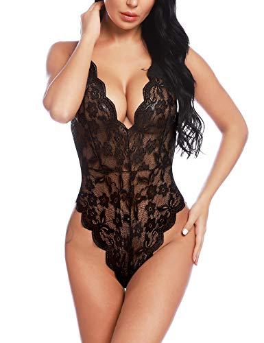 BESDEL Damen Einteiliger V-Ausschnitt Babydoll Sexy Lace Teddy Body Chemises Sleepwear Schwarz XXL