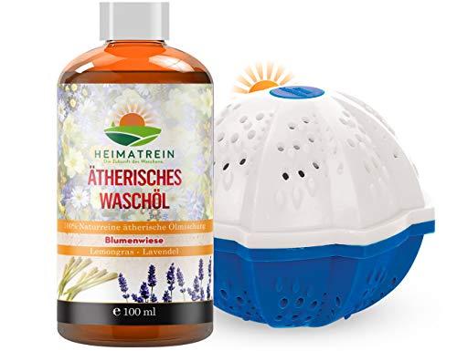 Premium HEIMATREIN Waschball + Natürlicher Duft Waschset | Mehrere 100 Euro sparen | Waschmittel des 21. Jahrhunderts | Ionentauschmethode | Waschsoda Bio , Waschkugel für Waschmaschine