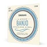 D'Addario EJS60 Stainless Steel 5-String Banjo Strings, Light, 10-20
