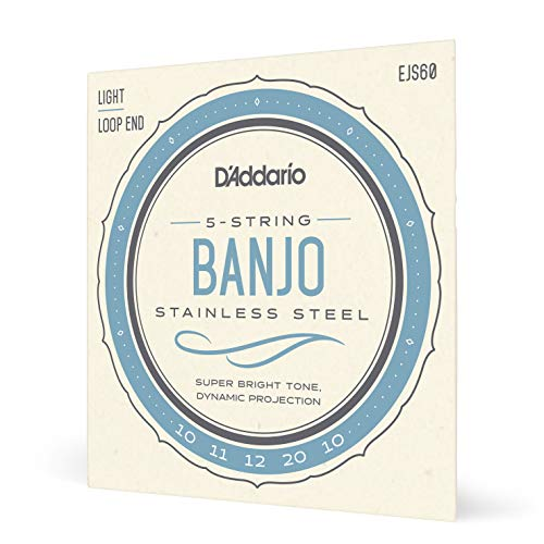 D'Addario EJS60. Cuerdas para banjo de 5 cuerdas, acero inoxidable, calibre fino, 9-20