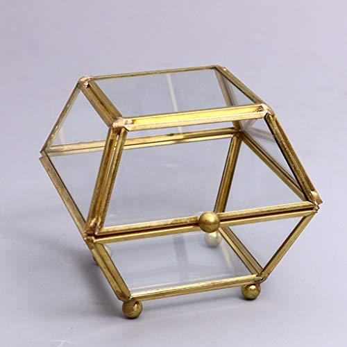 UYT Abra la caja de joyería de cristal de cuatro ángulos con flores de cristal transparente, caja de anillo de boda, caja de cristal geométrico, joyero, organizador de mesa