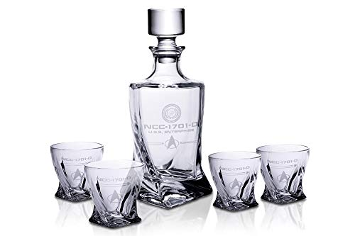 Ukonic Star Trek: The Next Generation 5-Piece Whiskey Decanter Set | USS Enterprise Themed Party Shot Glasses for Home Barware Collection | Each Glass Holds 10 Ounces