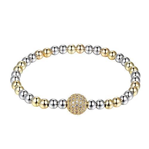 Pulsera Nueva Gente De Moda Cz Beads Grey Pearl Cuentas De Cobre Pulseras Joyas Coronas Almohadillas De Joyería para Hombres Yoga Hombres Joyería As291