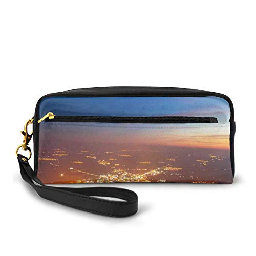 Pencil Case Pen Bag Pouch Stationary,City at Night Time Twilight Skyline Panoramic View Over Mountaintop Print,Small Makeup Bag Coin Purse