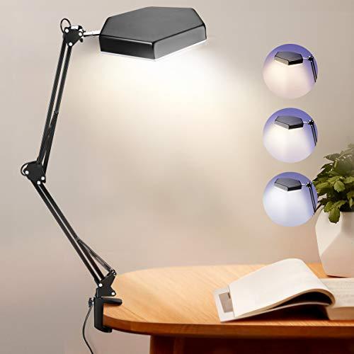 Luckits Lampada da scrivania a LED con morsetto, luce di lettura per la cura degli occhi dimmerabile, lampada a braccio oscillante a 10 Livelli di Luminosità 3 modalità colore, lampada da scrivania