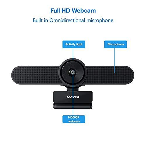 Tenveo VA200 | 3-in-1 Webcam mit Mikrofon, 1080P Full HD 124 Grad Weitwinkel Kamera für Skype/Zoom Videokonferenzen und YouTube/Twitch/OBS Live Streaming