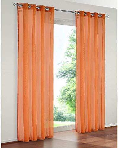 SIMPVALE 2 Paneles Cortinas Translúcida Visillos con Ojales para Ventanas Balcón Salón, Ancho 140cm/Altura 175cm, Naranja