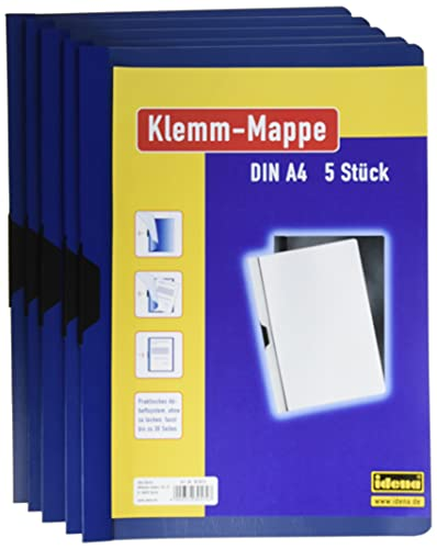 Idena 300572 - Klemmmappe für DIN A4, blau, 5 Stück