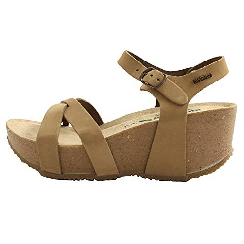 BioNatura sandali estivi donna fondo gomma e zeppa in sughero. Comode e leggere. Pelle beige tortora N.37