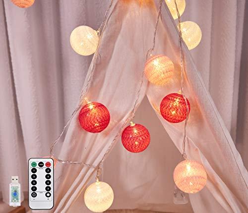 Hansiro - Guirnalda de luces LED con mando a distancia y 8 modos, 3,6 m, 20 bolas de algodón, USB, cargador de luz nocturna, para fiestas, bodas, Navidad (blanco, rojo y rosa)