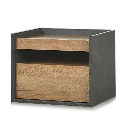 DEVAISE Hölzernen Nachttisch mit 1 Schublade, Moderner Nachtschrank, Nachtkommode, 48cm B x 40cm T x 39cm H, Eiche