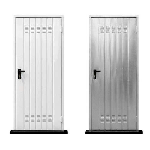 Puerta para bodega galvanizada con manija y cerradura, para cochera, ventanilla 90x200