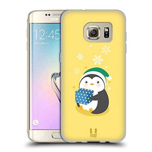 Head Case Designs Pacco Regalo Blu Pinguini Natalizi Kawaii Cover in Morbido Gel e Sfondo di Design Abbinato Compatibile con Samsung Galaxy S7 Edge
