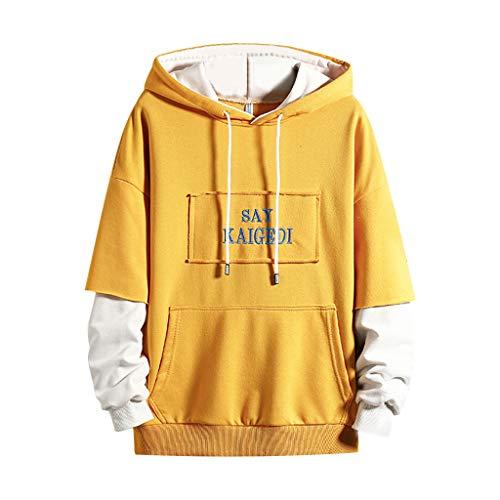 Fantastic Deal! WYTong Men's Casual Sweatershirt Long Sleeves Patchwork Hoodie Tops Drawstring Pullo...