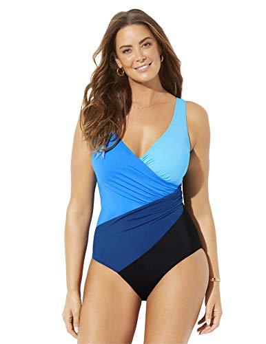Swimsuits For All Women's Plus Size Colorblock Surplice One Piece Swimsuit 18 Blue Combo