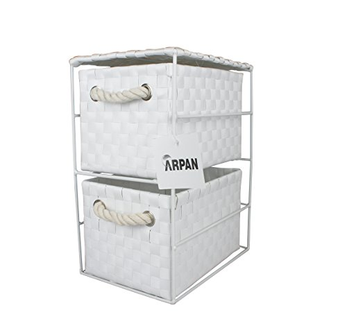 Arpan White 2 Drawer Storage Cabinet Unit Ideal for Home/Office/bedrooms (2 Drawer Unit -18x25x33cm)